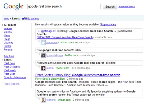 Google Search Goes Real Time