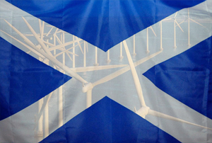 Scottish flag - offshore wind farm
