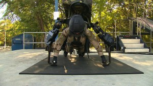 Doing press-ups in a bionic suit with ease