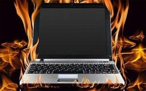 An overheating laptop
