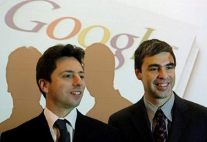 Larry and Sergey with the Google logo in the background