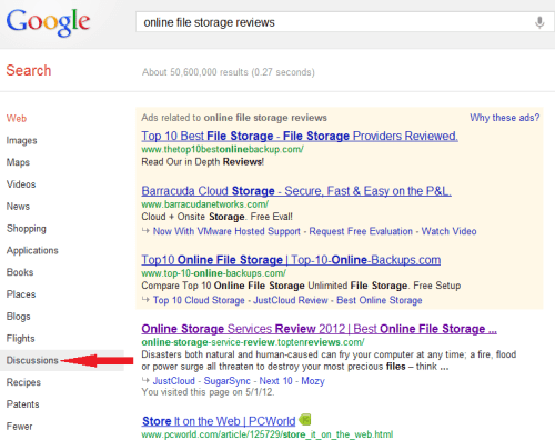 Google search for discussions about online file storage reviews