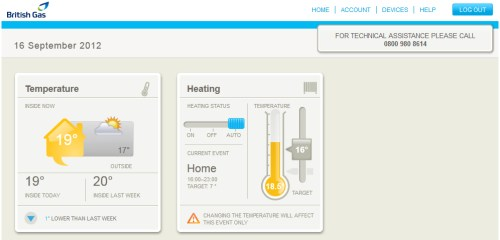 British Gas Remote Heating Control online homepage