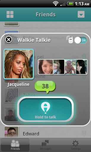 Walkie Talkie screen of AireTalk