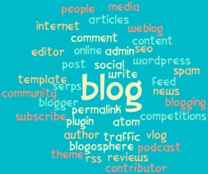 A Wordle of blogging words