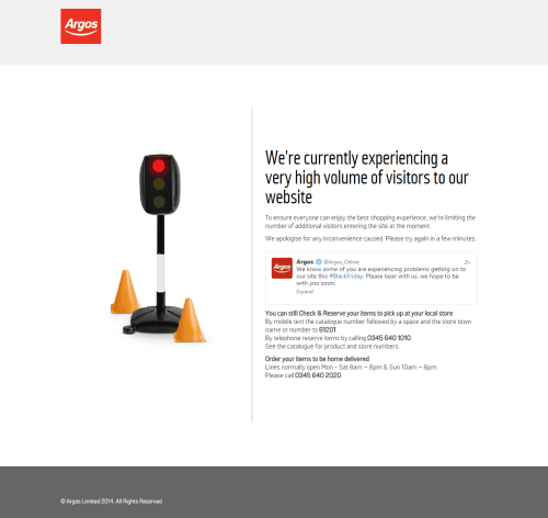 Argos website down on Black Friday