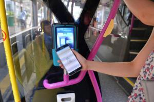 Singapore bus with a contactless payment reader