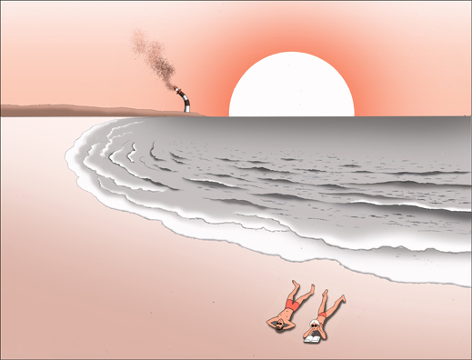 illustration of couple lying on stark beach with smoke stack in background