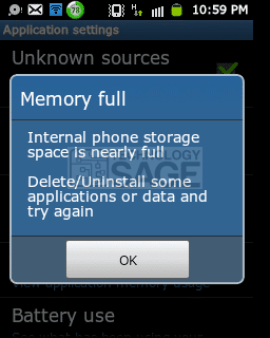 reduce usage of storage space on android phones