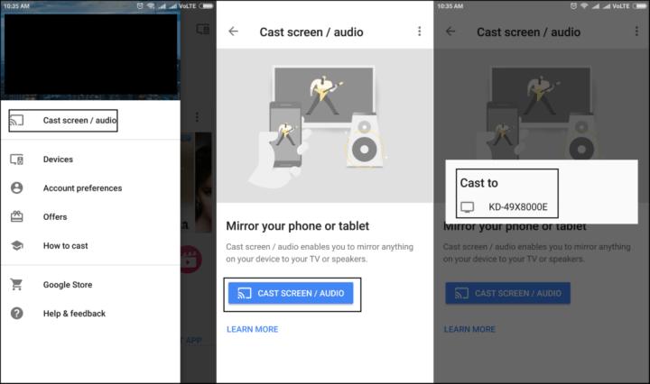 coulé écran android à la télévision en utilisant Google Home app