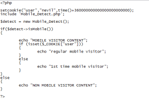 Detection of Mobile User or NonMobile user using Php Script