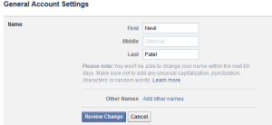 How to change name of facebook profile, business page?