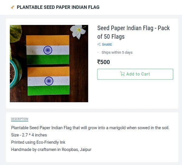 Buy Eco-Friendly Indian Flag