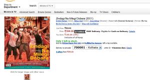 Amazon India Movie Listing