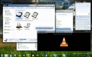 Black transparent theme Windows 7