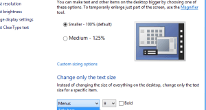 Change Text Size for in Menus Titiles in Windows 8