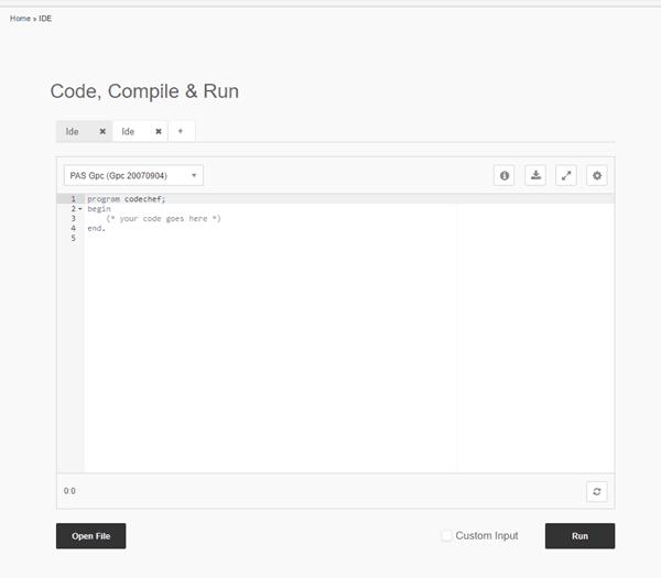 Codechef Online IDE