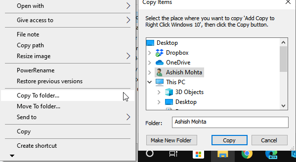 Copy to Move to In Windows 10 Right-Click