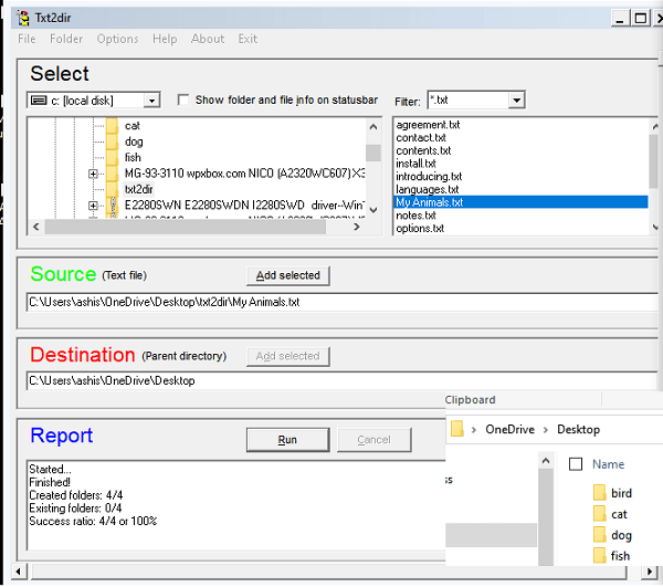 Create Multiple folders using text file