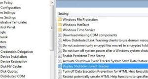 Display Shutdown Event tracker Config