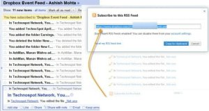 Dropbox Event Feed in Google Reader