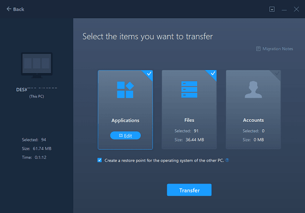 EASEUS PC Transfer Select Apps to transfer