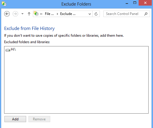 Exclude Files from File history of Windows 8