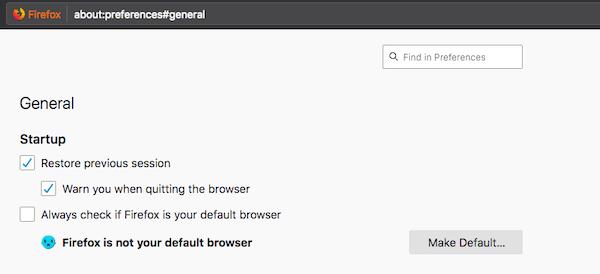 Firefox Startup settings