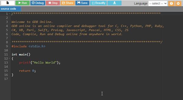 GDB Online Code Compiler and Debugger