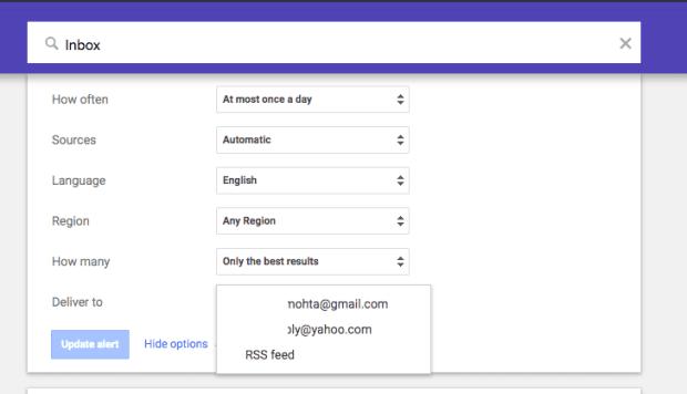 Google Alerts Non Gmail