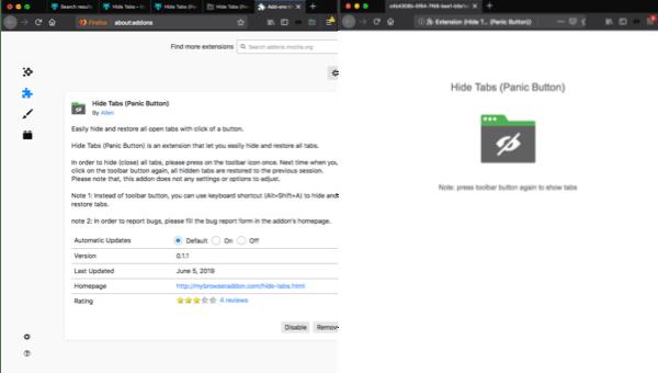 Hide Tabs Firefox