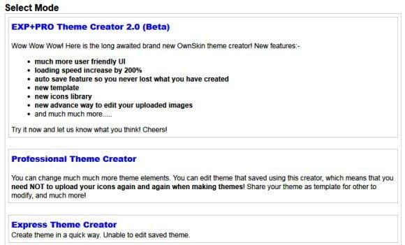Nokia Theme Creator Section