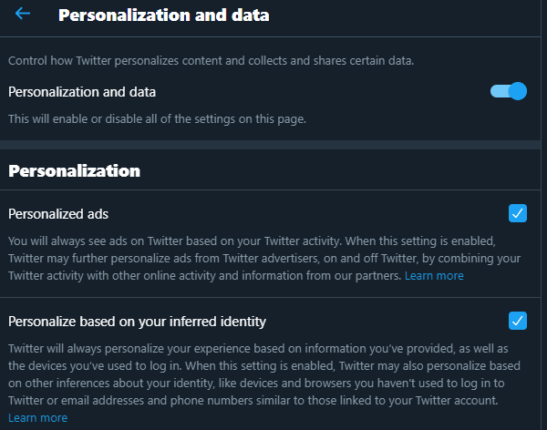 Personalized Twitter Data