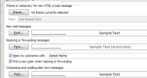 Reply forward colour in Outlook