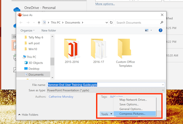 Tools Option in Saving Office Document