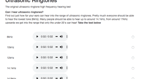 Test your hearing ability with Ultrasonic Ringtones