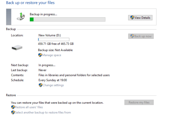 Windows 10 Backup in Progress