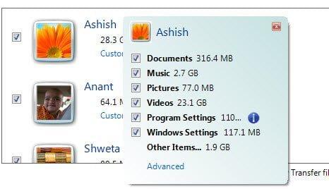 Windows 7 Transfer User Details