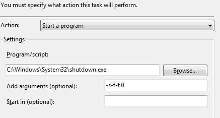 Shutdown Windows Vista using Task Scheduler