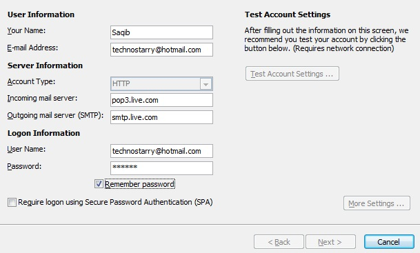 Live Mail Settings Outlook