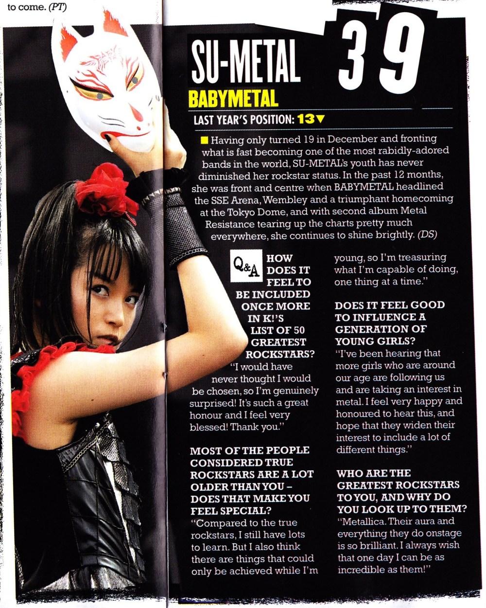 Traducción al español de la entrevista a SU-METAL en la revista Kerrang (18 de febrero, 2017)