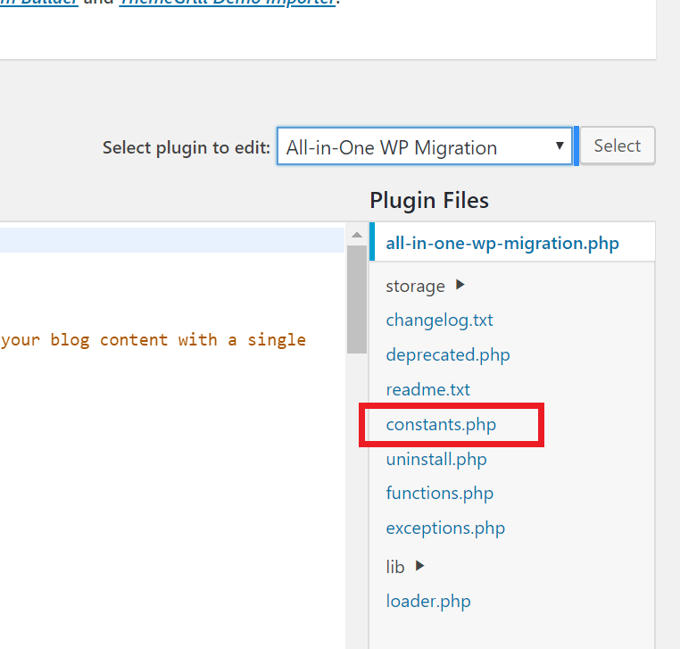 All-in-One WP Migration Plugin editor