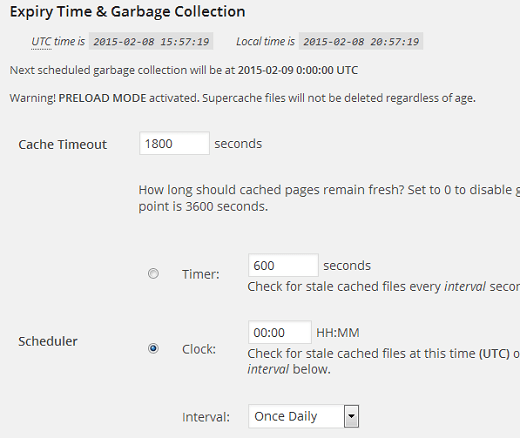 WP Super Cache expiry time and garbage collection