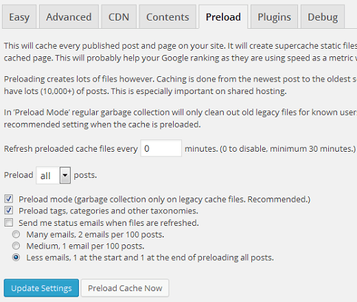 WP Super Cache settings preload
