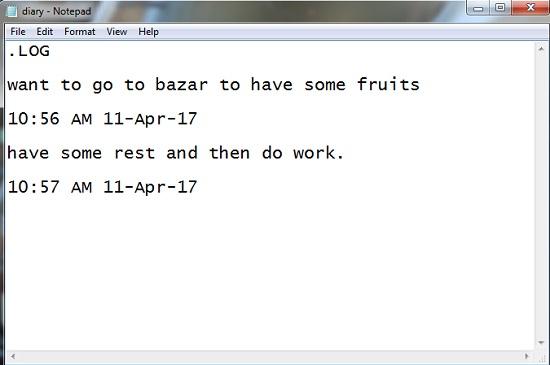 notepad tricks as diary