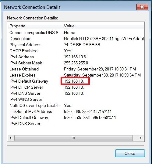 default gateway router ip address
