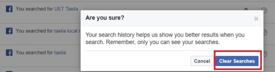 Clear Searches of Facebook Search History Permanently