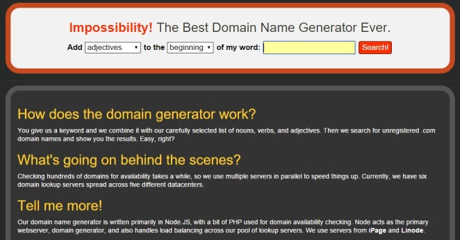 impossible Tools for Picking the Perfect Domain Name