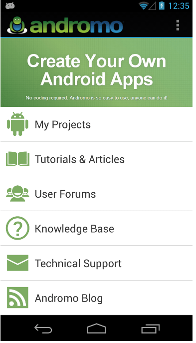 andromo-android-app-creator