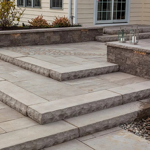 Stone Steps Techo Bloc | Outside Entrance Stairs Design | Landscaping | Front Yard Stair | Cool | Upstairs | Simple